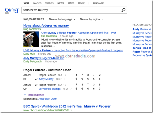 bing search result